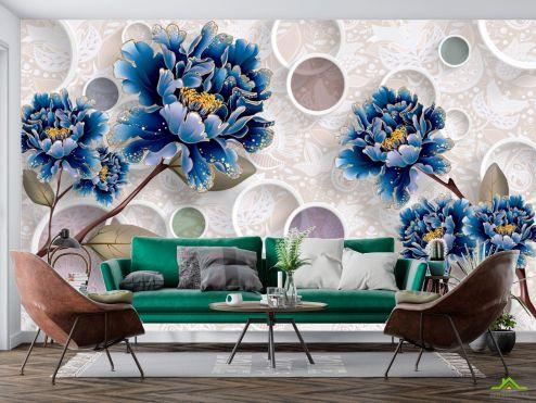 цветы 3d Фотообои  Цветы синие обьемные