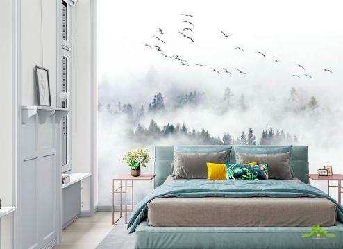 в скандинавском стиле Фотообои Птицы над туманным лесом