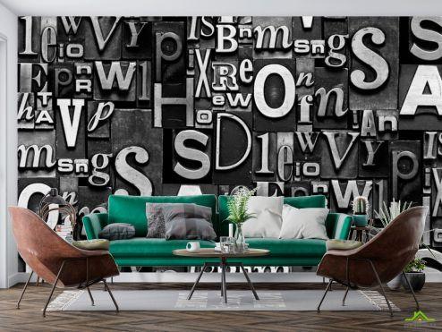 Черные  3д фотообои Буквы