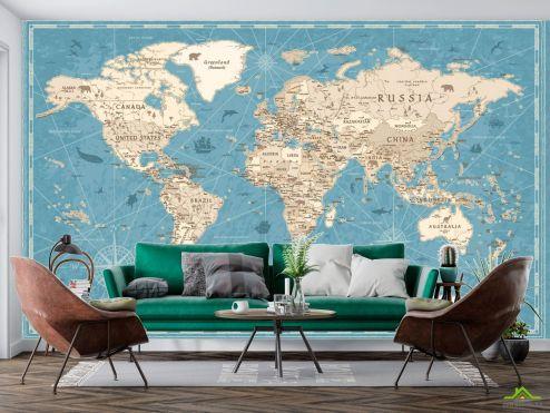 Фотообои карта Мира по выгодной цене Фотообои Бирюзовая карта
