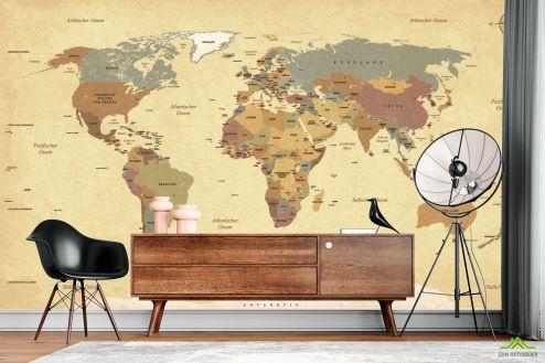 Фотообои карта Мира по выгодной цене Фотообои Географическая карта