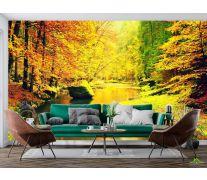 Фотообои желтый осенний лес