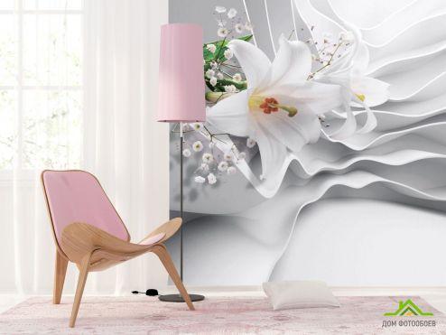 3D обои расширяющие пространство Фотообои Лилии на сером фоне