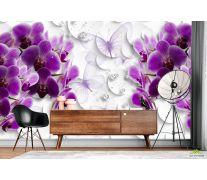 Фотообои Фиолетовые 3д орхидеи
