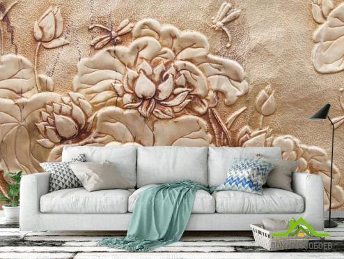 3Д  Фотообои цветы барельеф