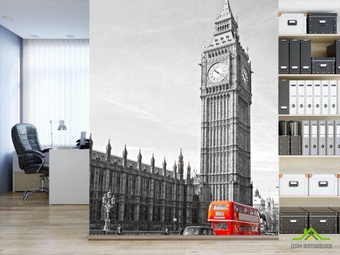 обои Лондон Фотообои красный автобус возле Биг Бена в Лондоне