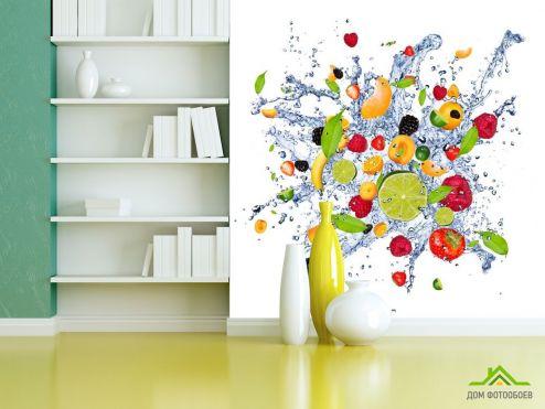 Еда и напитки Фотообои фрукты и вода
