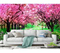 Фотообои Тоннель из розовых деревьев