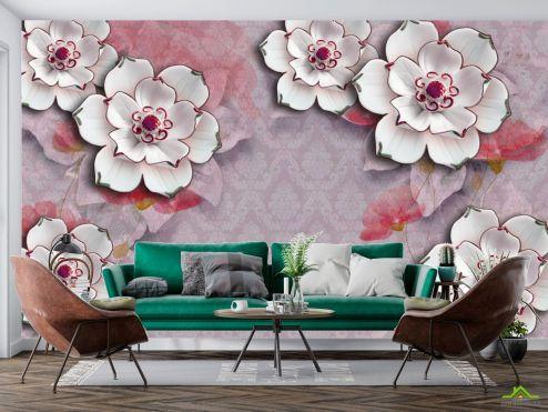 3Д  Фотообои Керамические цветы на фоне барроко