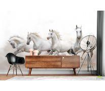 Фотообои четыре белые лошади