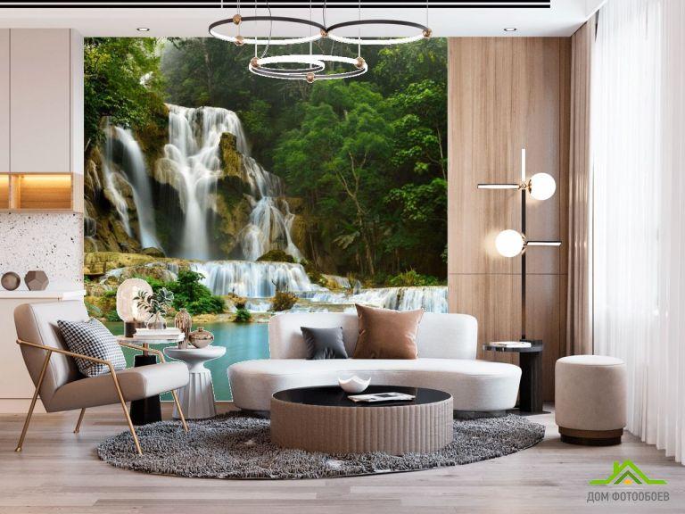 Фотообои Водопад и озеро