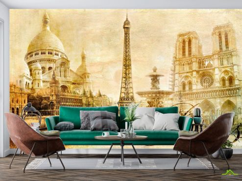 Старый город Фотообои Винтажный Париж купить