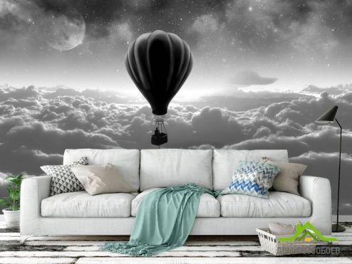 Черно-белые обои Фотообои воздушный шар