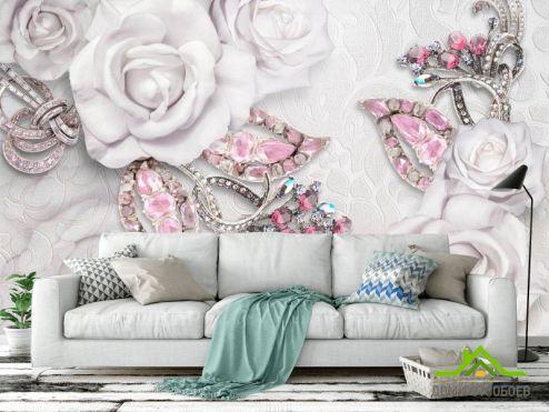 3Д обои Фотообои Розы и брошки 3d