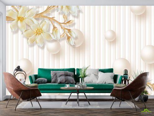 3Д  Фотообои Керамические цветы и круги