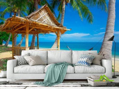 Море Фотообои Хижина, гамак, пальмы