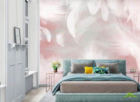 фотошпалери в спальню Фотошпалери Пір'я на рожевому тлі