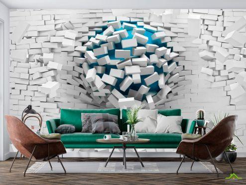 3Д  Фотообои Шар из стены