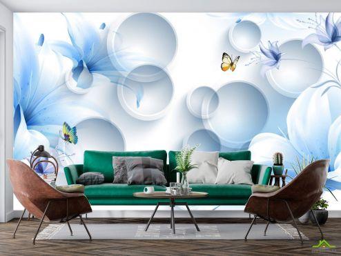 3Д  Фотообои  Синие цветы с бабочками