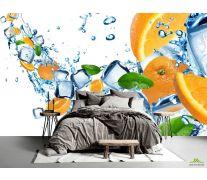 Фотообои Апельсины и кубики льда