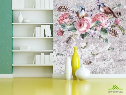 Эксклюзивные обои Фотообои Яркие цветы на фоне бетона