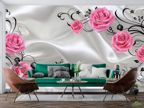 3Д  Фотообои Цветы, стена купить