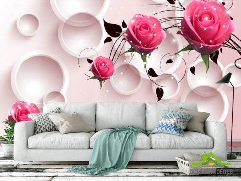 обои Цветы Фотообои 3д розы и круги