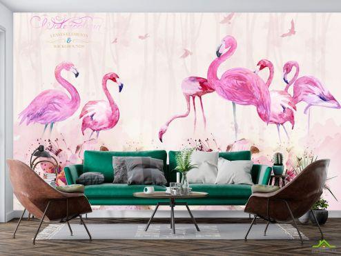 Фотообои Животные по выгодной цене Фотообои Акварельные фламинго