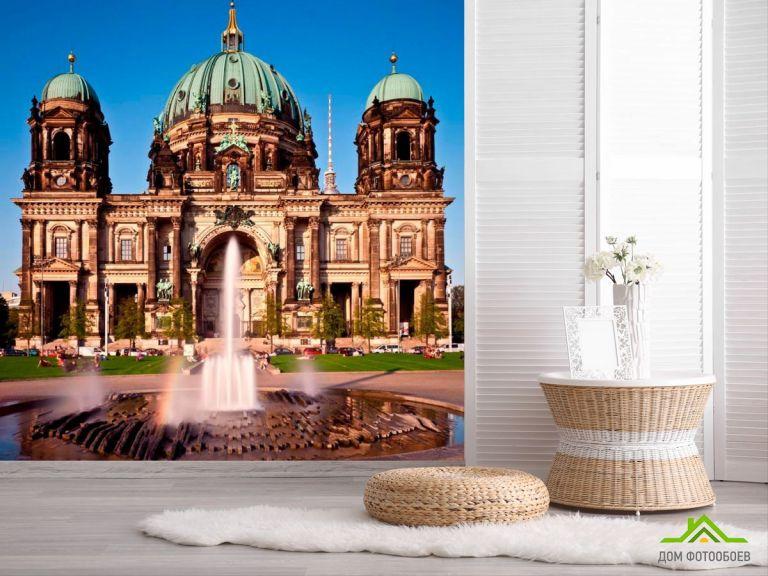 Фотообои Замок с фонтанами