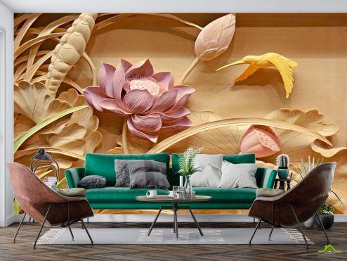 3Д барельеф Фотообои Цветы купить