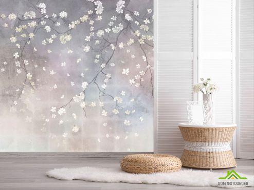 Эксклюзивные обои Фотообои Ветви сакуры на сером