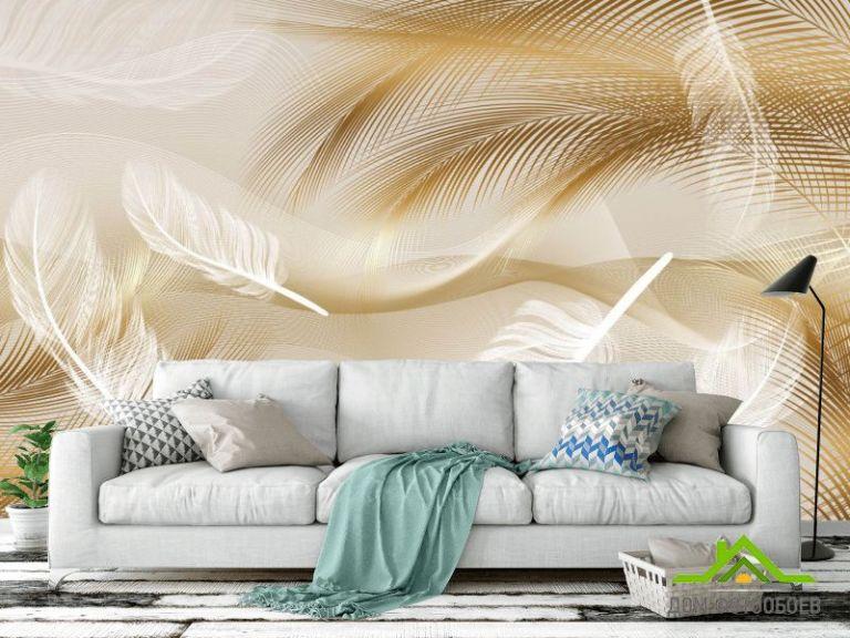 Фотообои Векторные перья коричневые