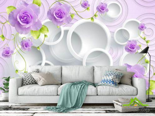Фотообои разные по выгодной цене Фотообои розы на 3д фоне