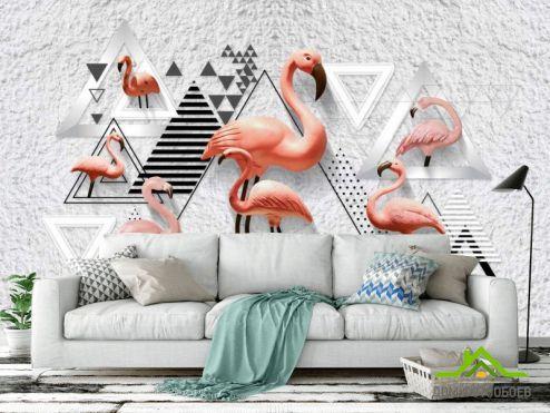 обои с Фламинго Фотообои Фламинго и геометрия