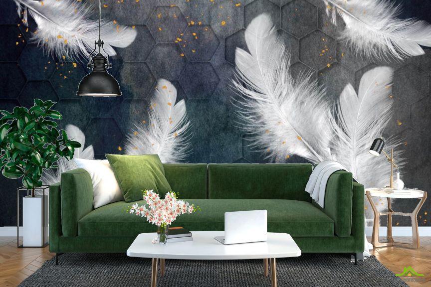 Фотообои Белые перья с золотом