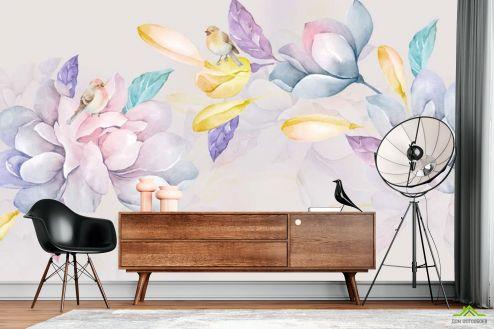 в скандинавском стиле Фотообои Акварельные нежные цветы