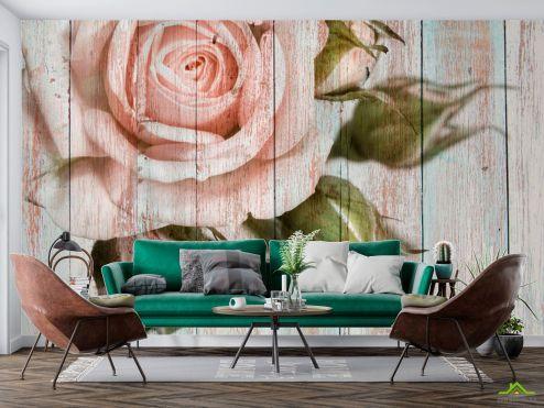 Эксклюзивные  Фотообои Роза на фоне дерева