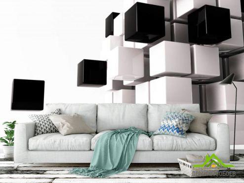 Хай Тек 3д фотообои Черние и белые кубы