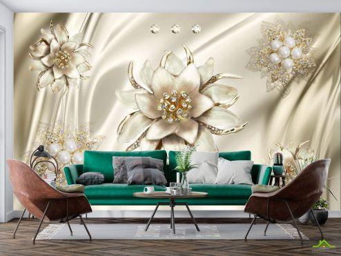 3Д  Фотообои Цветы,жемчуг купить