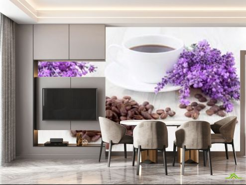 на кухню Фотообои в кухню Кофе, цветы