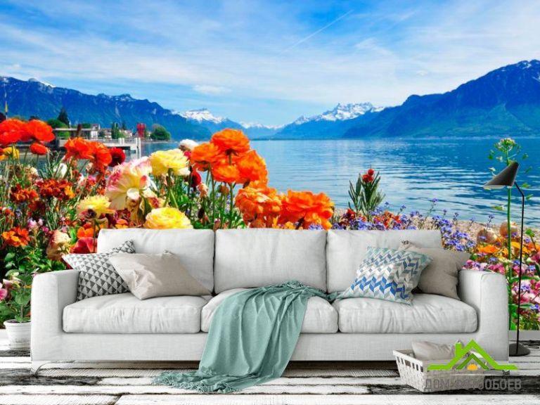 Фотообои Море цветов, горы