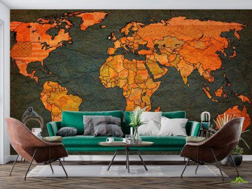 Карта Фотообои Карта  мира на фоне бумаги
