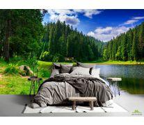 Фотообои озеро и лес