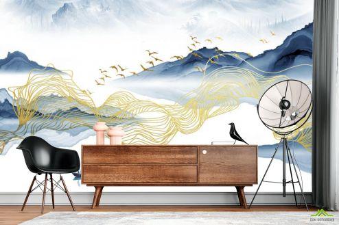 Абстракция Фотообои Волны из синей и золотой абстракции купить