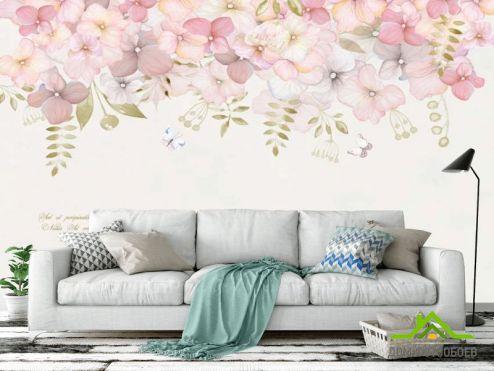 в скандинавском стиле Фотообои Цветы под потолком