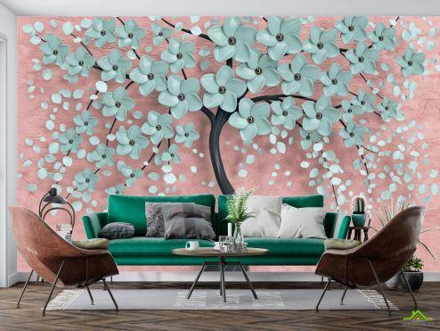 3Д барельеф Фотообои Мятное дерево