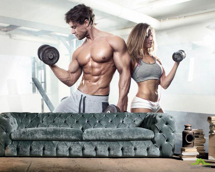 Фотообои фитнес парень и девушка