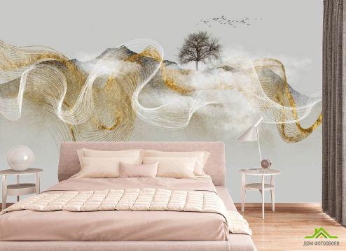 фотошпалери в спальню Фотошпалери золота Абстракція з деревом