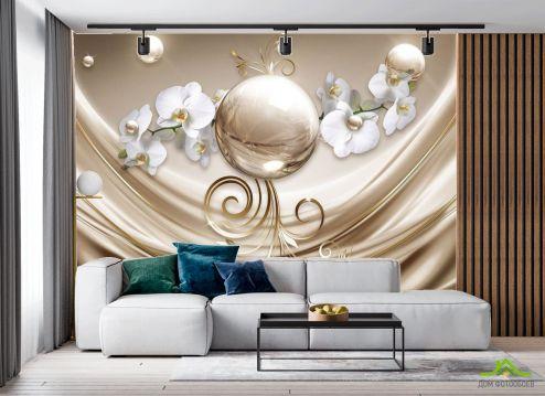 в гостиную Фотообои Орхидеи и шар