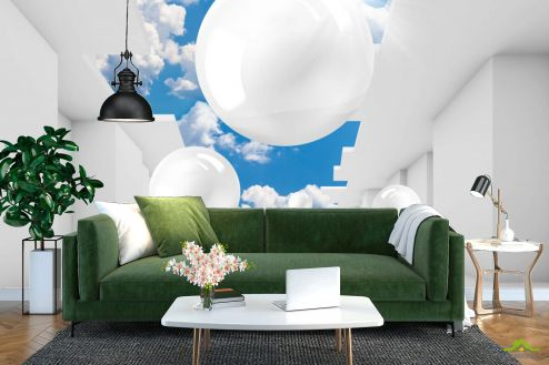 3Д  Фотообои 3д шары и небо